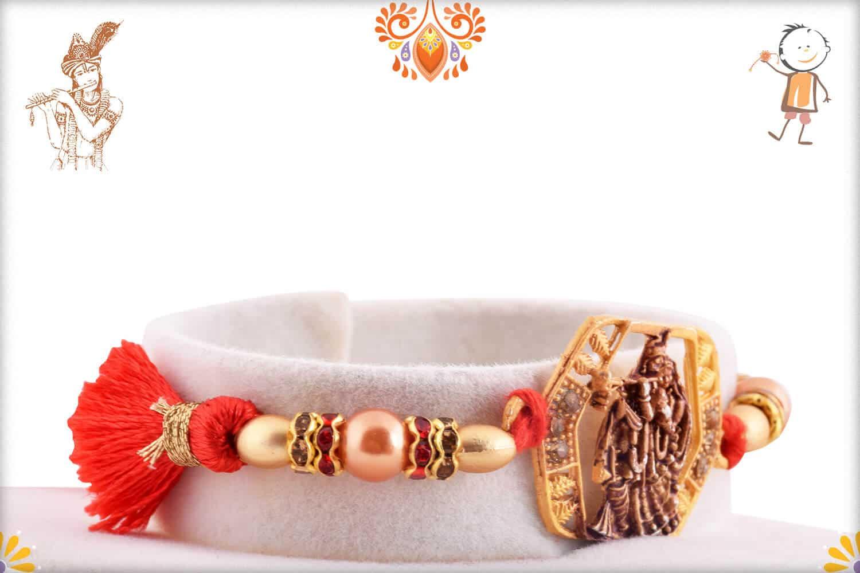 Beautiful Radha-Krishna Rakhi with Pearls 2