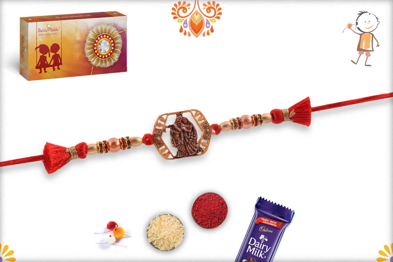 Beautiful Radha-Krishna Rakhi with Pearls 3
