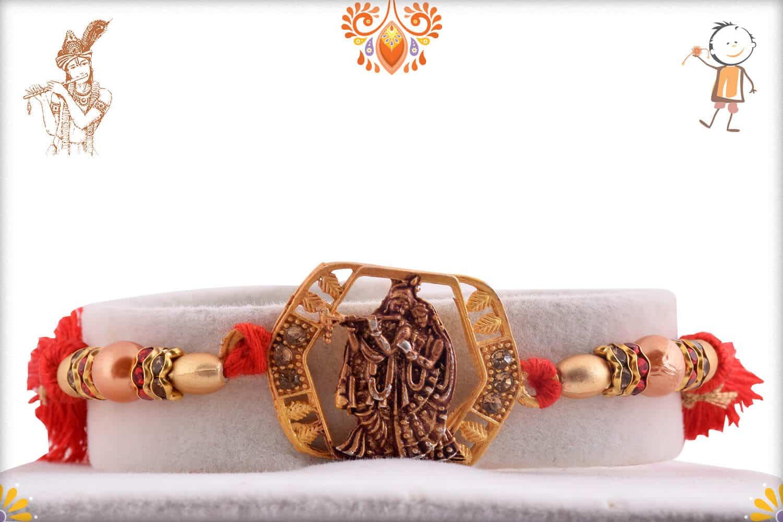 Beautiful Radha-Krishna Rakhi with Pearls 1
