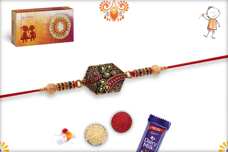 Exclusive Rakhi with Desinger Beads and Diamonds   Send Rakhi Gifts Online 3
