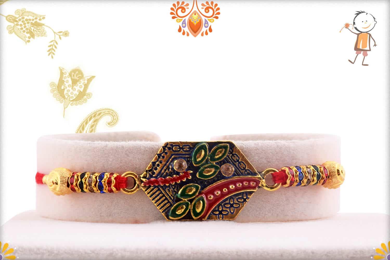 Exclusive Rakhi with Desinger Beads and Diamonds   Send Rakhi Gifts Online 1