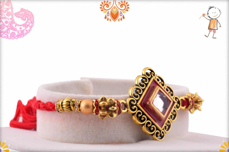 Designer Diamond Shape Kundan Rakhi   Send Rakhi Gifts Online 2