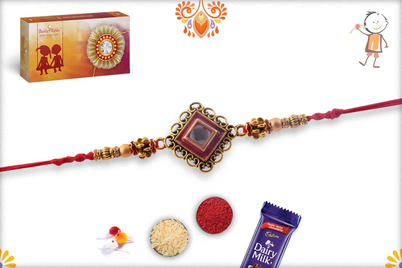 Designer Diamond Shape Kundan Rakhi   Send Rakhi Gifts Online 3