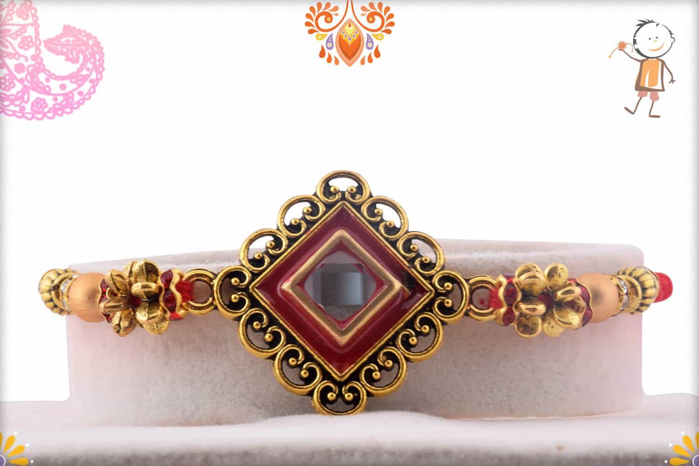 Designer Diamond Shape Kundan Rakhi   Send Rakhi Gifts Online 1