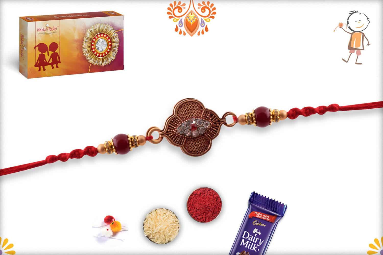 Exclusive Rakhi with Maroon Beads and Diamonds | Send Rakhi Gifts Online 2