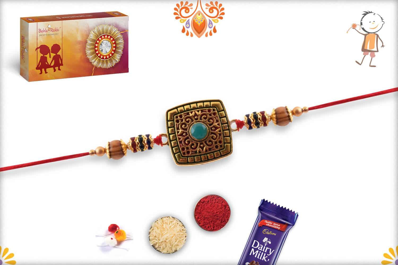 Exclusive Square Rakhi with Turquoise Bead | Send Rakhi Gifts Online 2