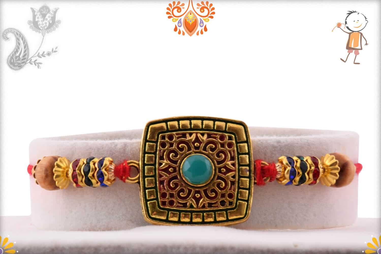 Exclusive Square Rakhi with Turquoise Bead | Send Rakhi Gifts Online 1