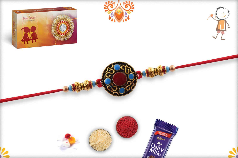 Designer Round Rakhi with Blue and Red Bead   Send Rakhi Gifts Online 2