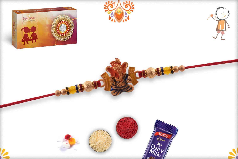 Blessing Ganeshji Rakhi with Beads 2