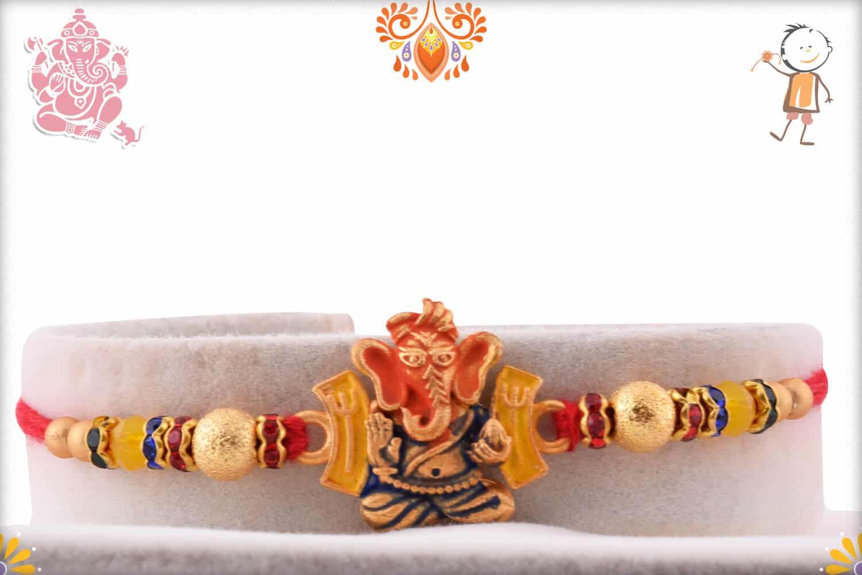 Blessing Ganeshji Rakhi with Beads 1