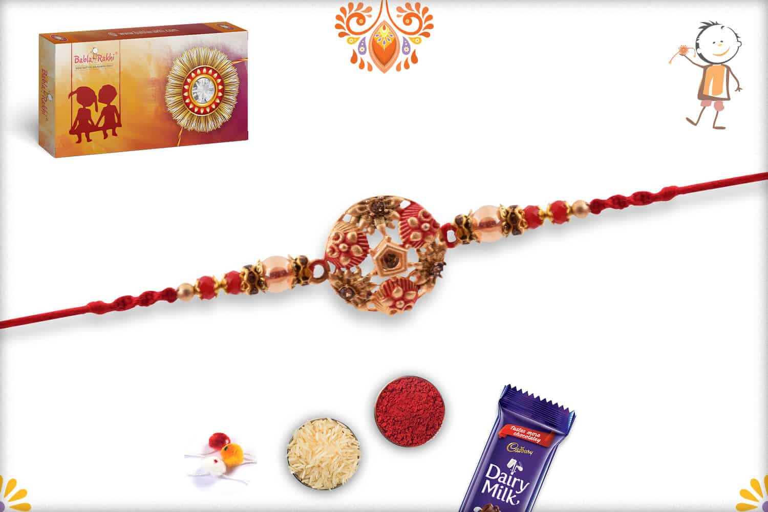 Exclusive Round Rakhi with Red Beads 2