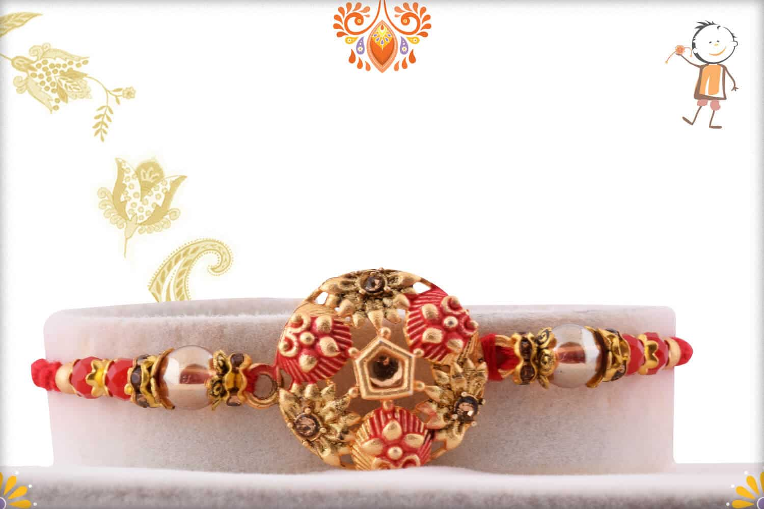 Exclusive Round Rakhi with Red Beads 1