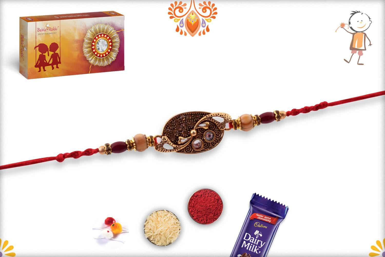 Designer Rakhi with Sandalwood Beads 2