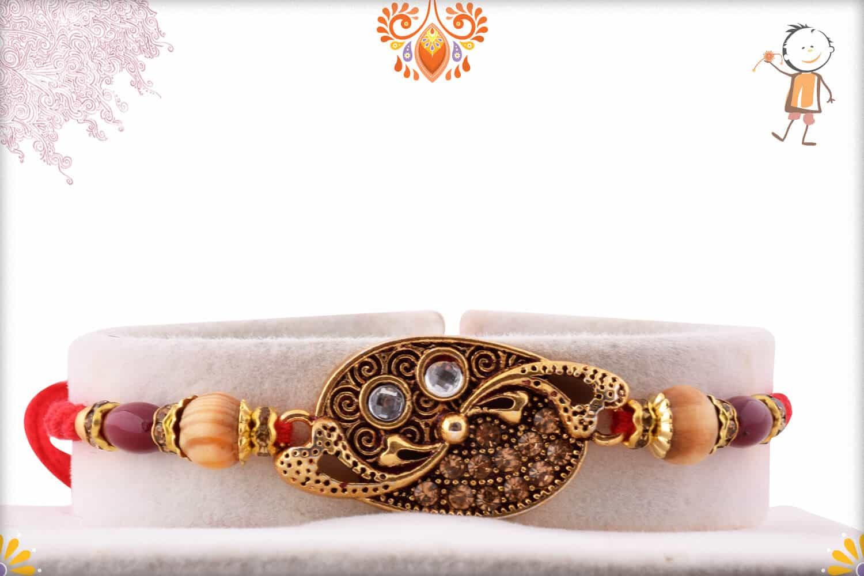 Designer Rakhi with Sandalwood Beads 1
