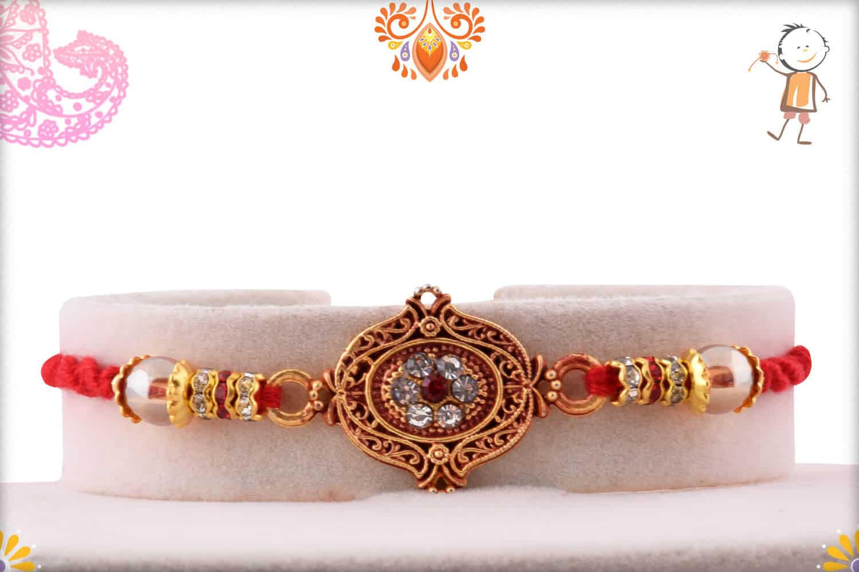 Unique Diamond Rakhi with Beads   Send Rakhi Gifts Online 1