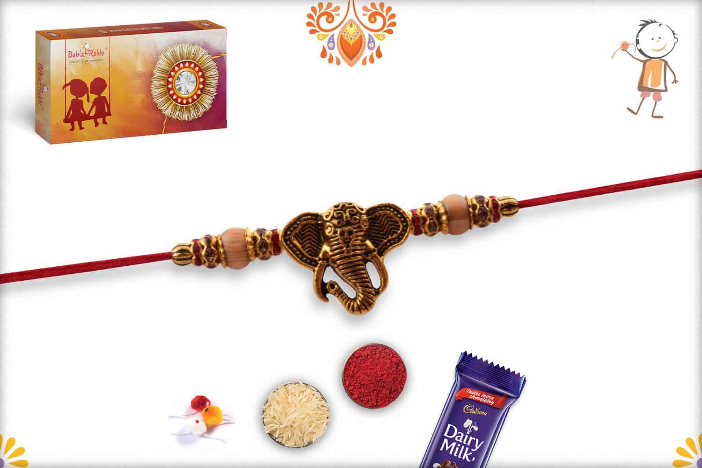 Exclusive Ganesh Rakhi with Sandalwood Beads   Send Rakhi Gifts Online 2