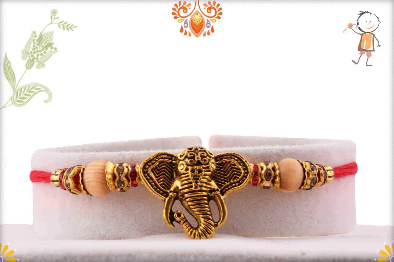 Exclusive Ganesh Rakhi with Sandalwood Beads   Send Rakhi Gifts Online 1