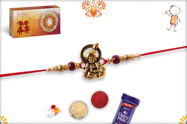 Exclusive Laddo Gopal Rakhi with Maroon Beads 2