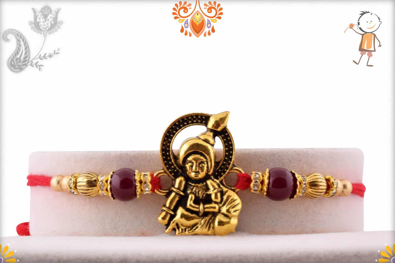 Exclusive Laddo Gopal Rakhi with Maroon Beads | Send Rakhi Gifts Online 1