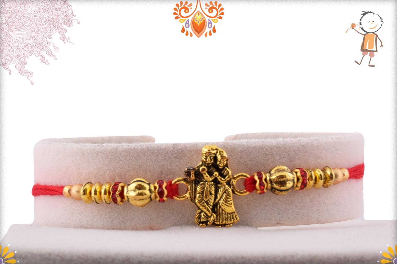 Exclusive Radha-Krishna Rakhi with Golden Beads 1