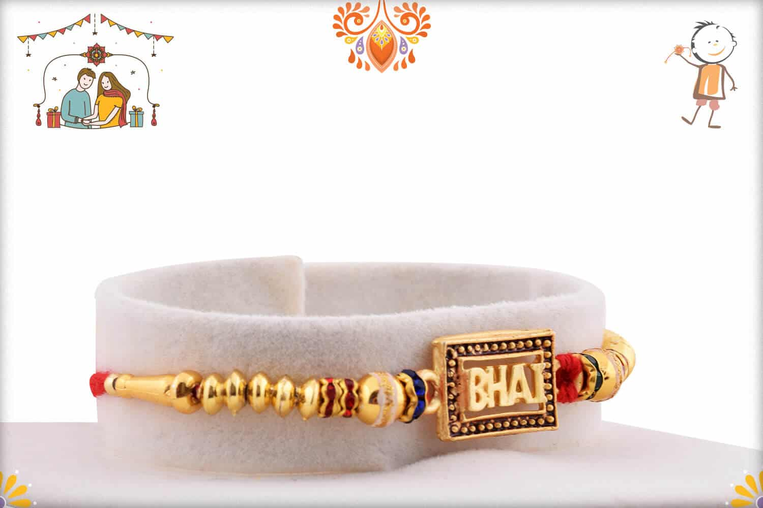Elegant BHAI Rakhi with Golden Beads 2