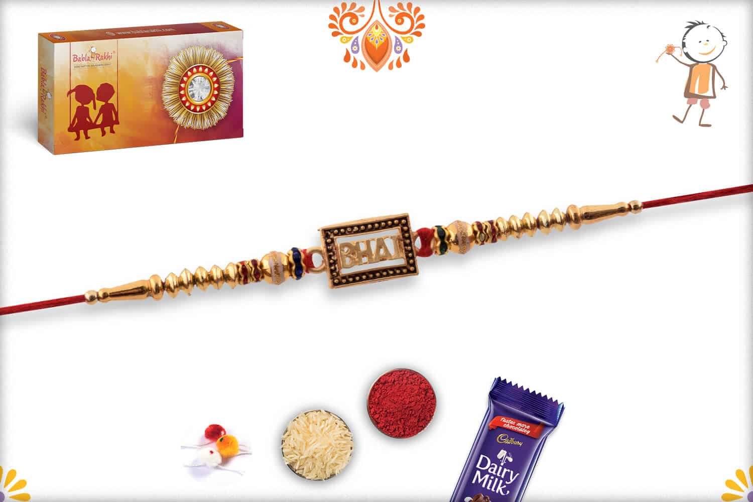Elegant BHAI Rakhi with Golden Beads 3