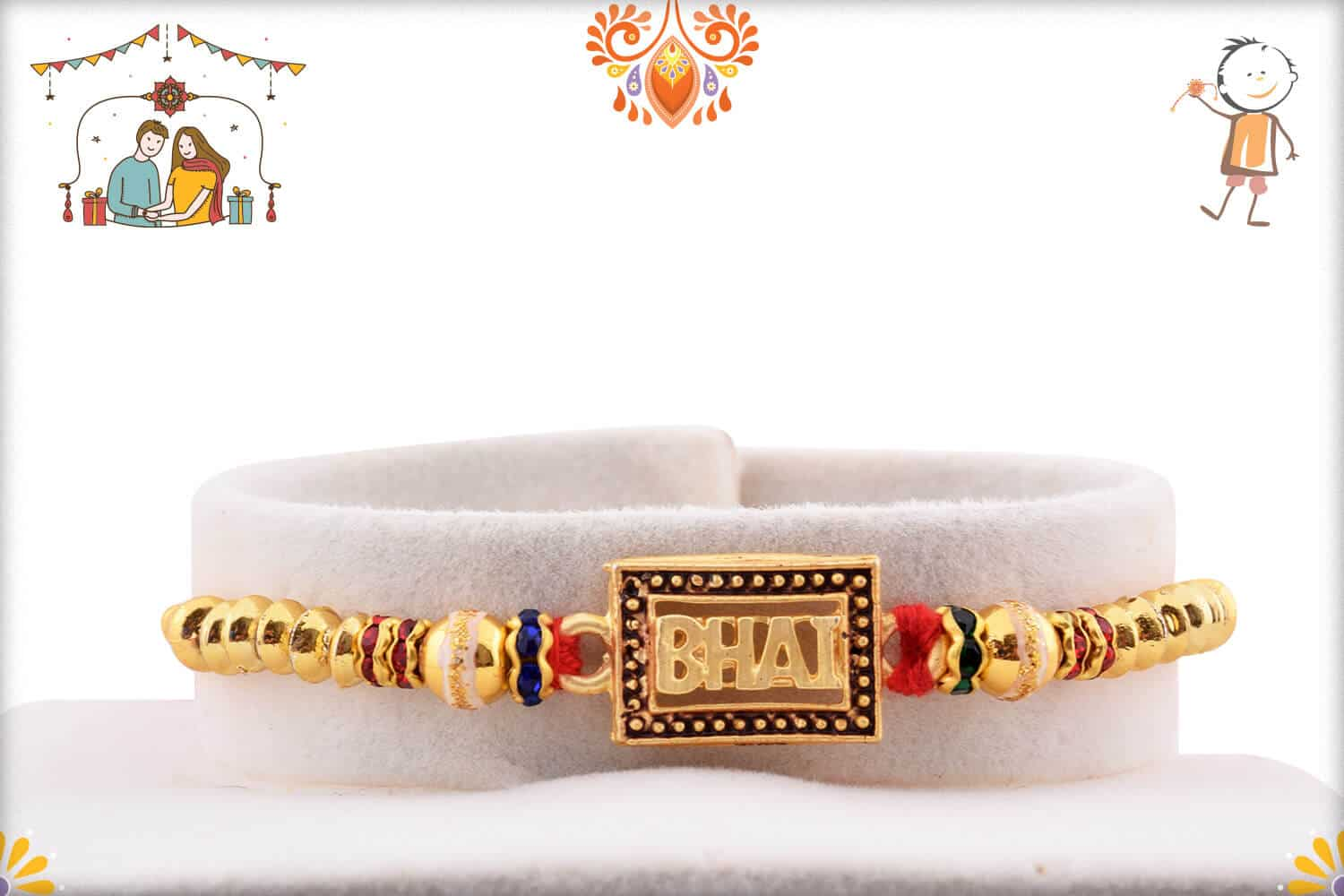 Elegant BHAI Rakhi with Golden Beads 1