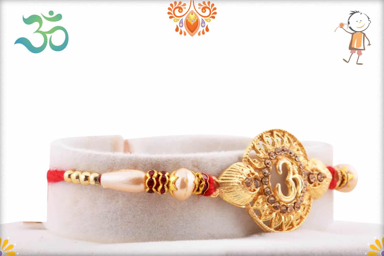 Spiritual Om Golden Rakhi with Pearls 2