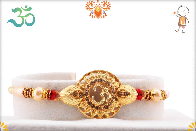 Spiritual Om Golden Rakhi with Pearls 1