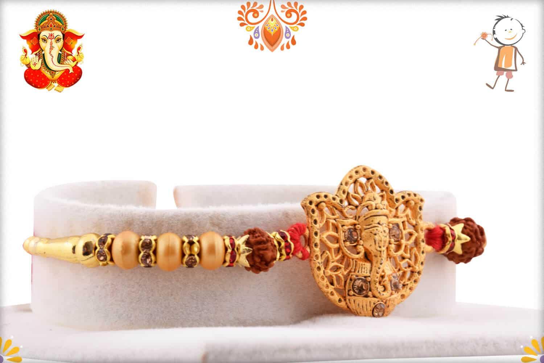 Beautiful Ganeshji Golden Rakhi with Rudraksh   Send Rakhi Gifts Online 2