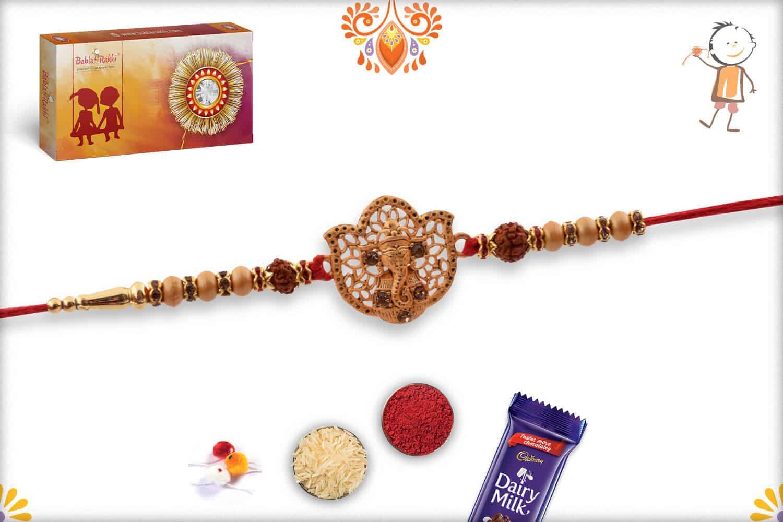 Beautiful Ganeshji Golden Rakhi with Rudraksh   Send Rakhi Gifts Online 3