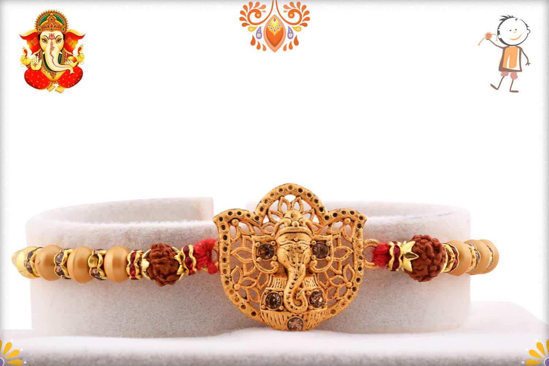 Beautiful Ganeshji Golden Rakhi with Rudraksh   Send Rakhi Gifts Online 1