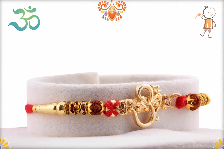 Aspicious Golden OM Rakhi with Rudraksh and Golden Beads 2