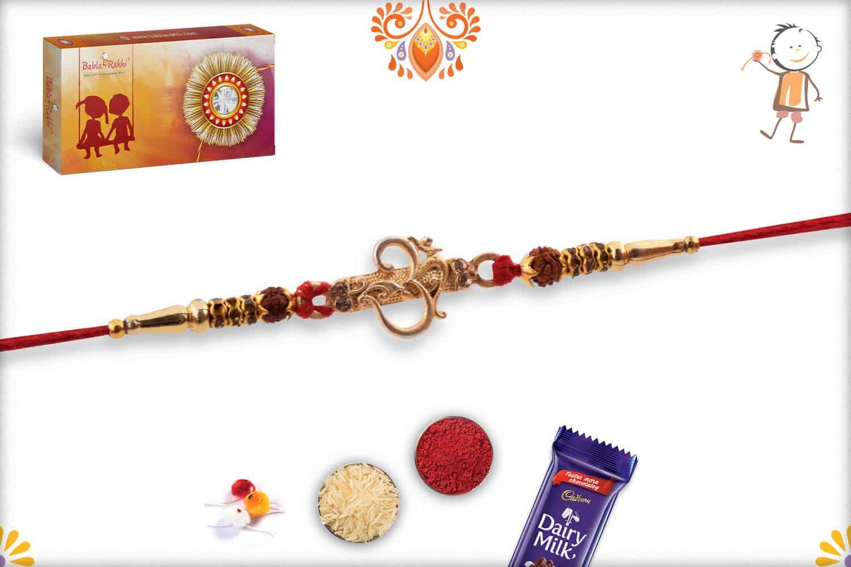Aspicious Golden OM Rakhi with Rudraksh and Golden Beads 3