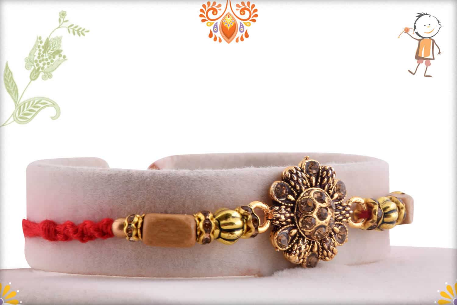 Beautiful Kalamkari Flower Rakhi with Diamonds 2