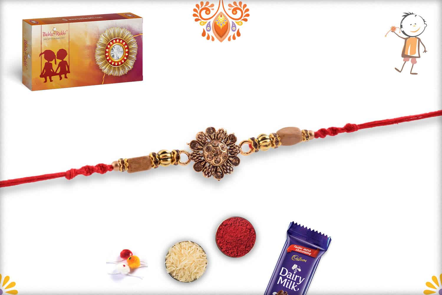 Beautiful Kalamkari Flower Rakhi with Diamonds 3