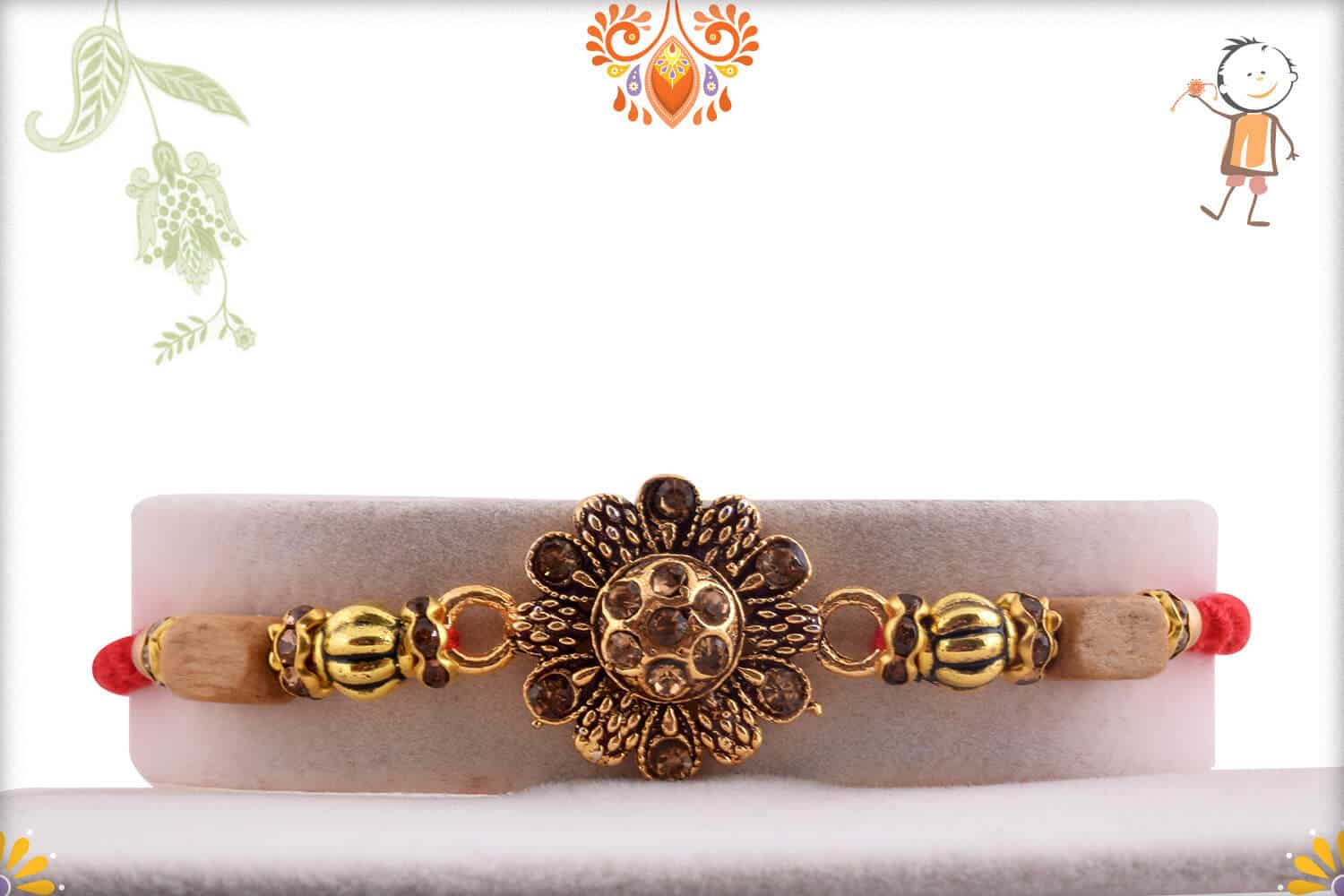 Beautiful Kalamkari Flower Rakhi with Diamonds 1