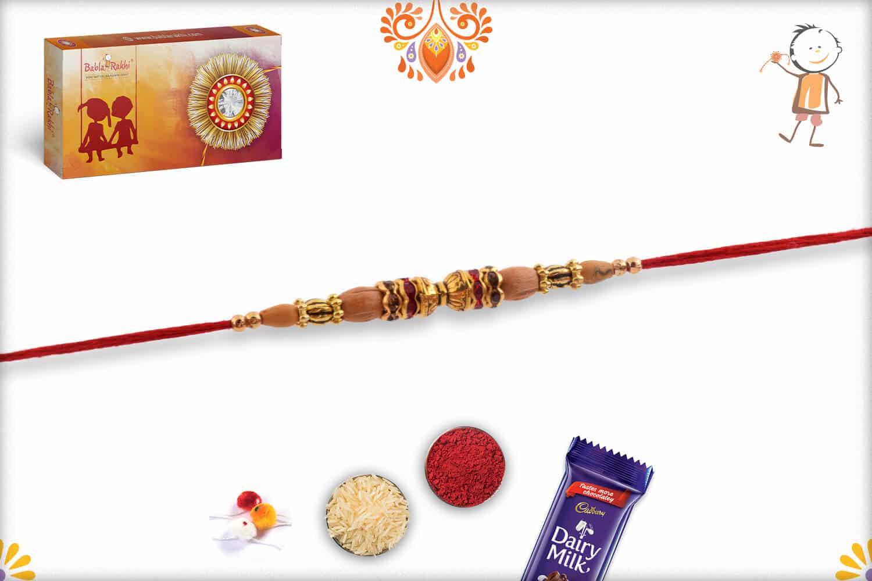 Handcrafted Damaroo Rakhi with Sandalwood Beads | Send Rakhi Gifts Online 2
