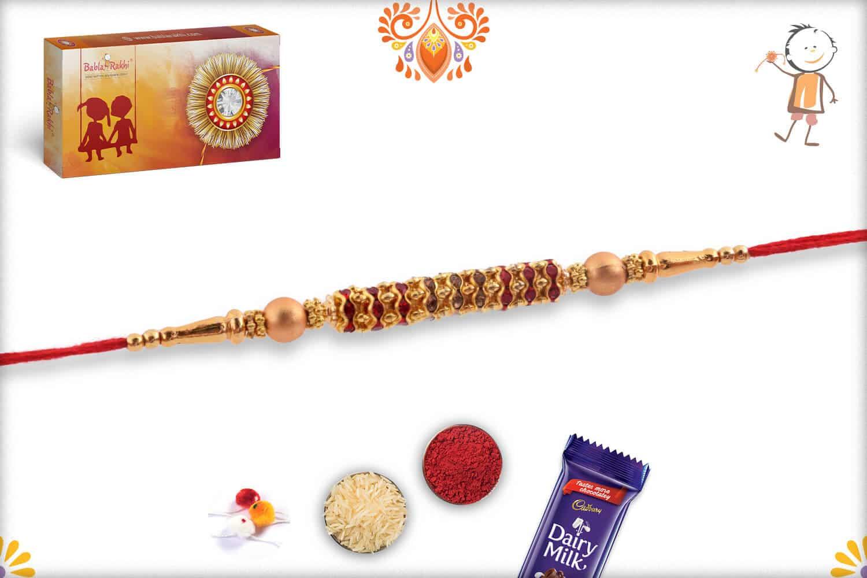 Simple Golden Diamond Rings Rakhi wth Beads | Send Rakhi Gifts Online 2