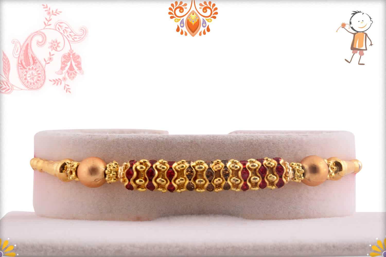 Simple Golden Diamond Rings Rakhi wth Beads | Send Rakhi Gifts Online 1