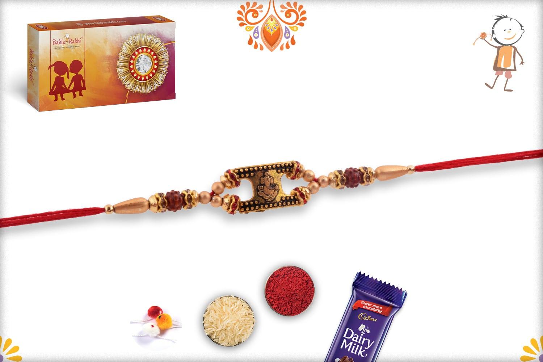 Golden Ganeshji Rakhi with Rudraksh and Golden Beads | Send Rakhi Gifts Online 2