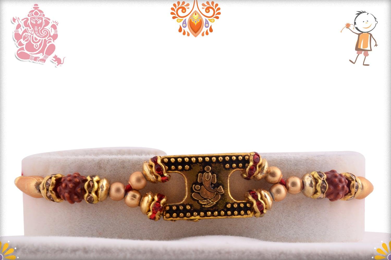 Golden Ganeshji Rakhi with Rudraksh and Golden Beads | Send Rakhi Gifts Online 1