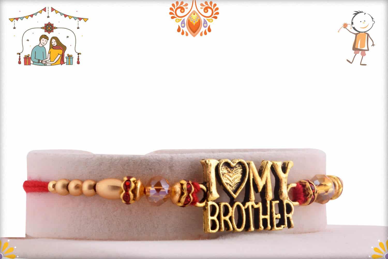 I Love My Brother Golden Rakhi | Send Rakhi Gifts Online 2