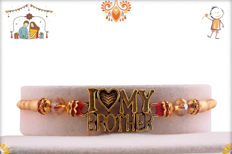 I Love My Brother Golden Rakhi | Send Rakhi Gifts Online 1