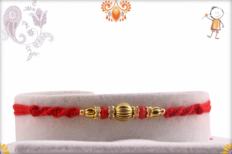 Golden Diamond-cut Beads Rakhi | Send Rakhi Gifts Online 1