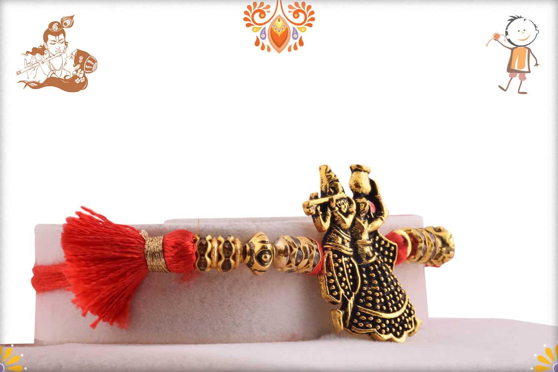 Divine Radha Krishna Antique Rakhi 2