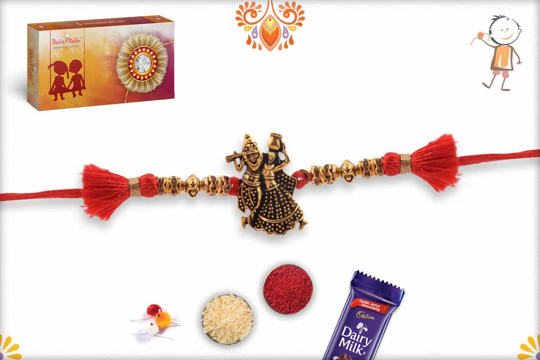 Divine Radha Krishna Antique Rakhi 3