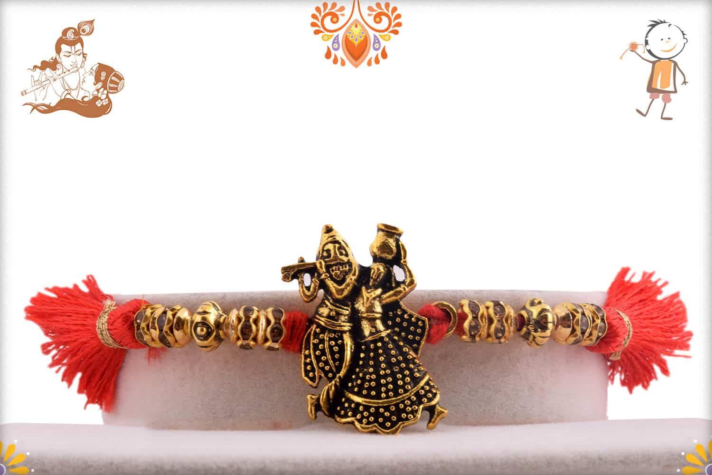 Divine Radha Krishna Antique Rakhi 1