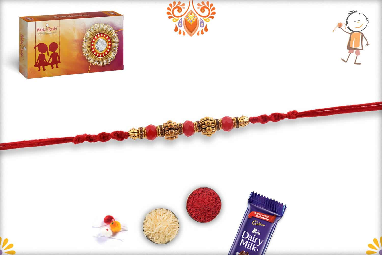 Designer Golden Beads Rakhi with Red Stone Beads 2