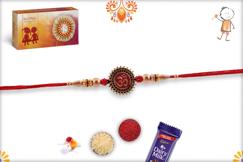 Handcrafted Spiritual OM Rakhi with Golden Beads | Send Rakhi Gifts Online 2